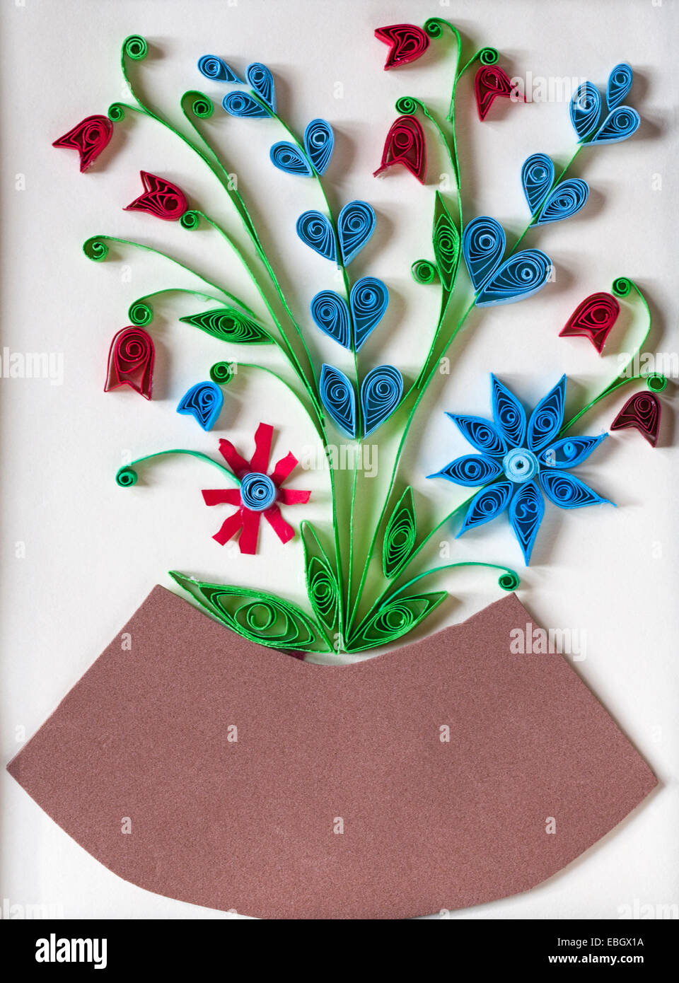 Paper quilling flowers stock photos paper quilling flowers stock paper quilling vase of flowers hand made hand crafted card stock image mightylinksfo