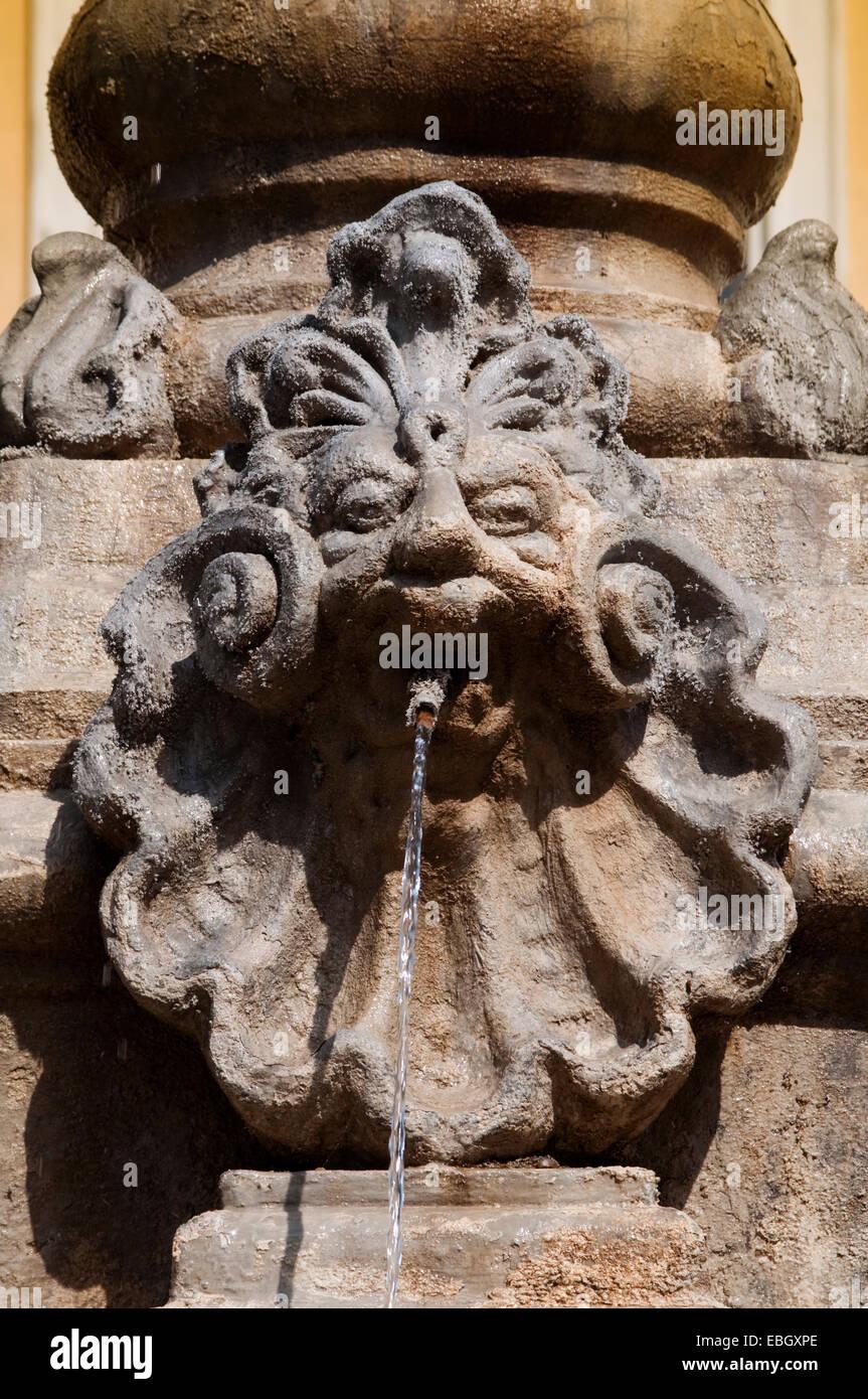 Italy, Liguria, Alassio, Piazza della Libertà Square, Fountain - Stock Image