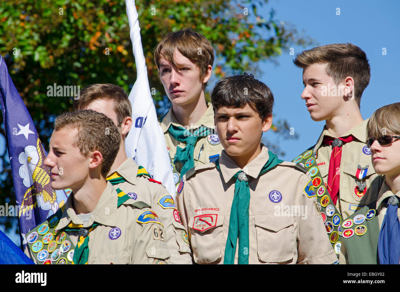 Boy Scouts of America stand at attention during a speech to honor the Veterans of World War II. - Stock Image