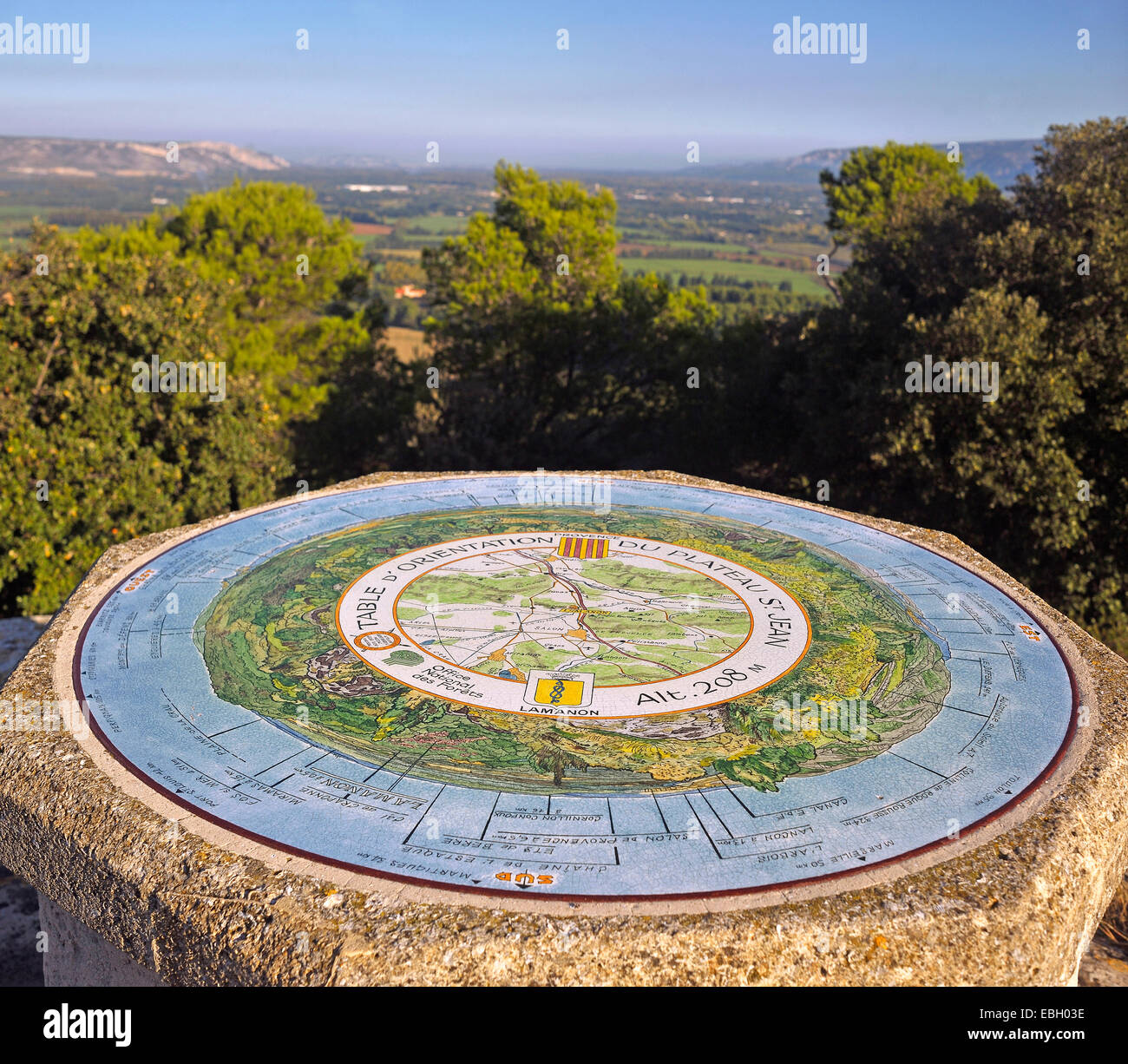 viewpoint indicator on top of a rock, France, Provence, Cales, Lamanon Salon de Provence - Stock Image