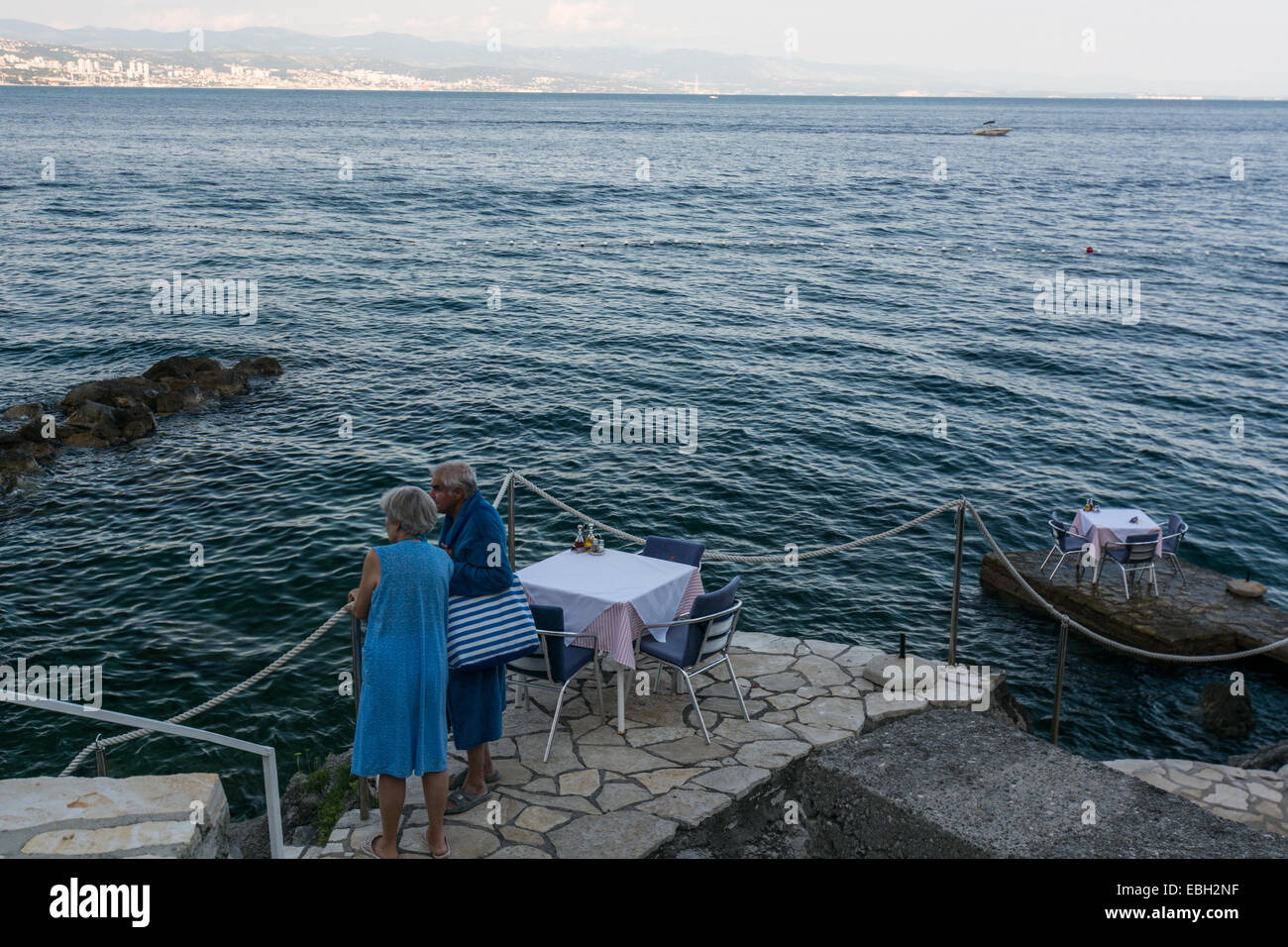 In addition to the parks, hotels and villas, one of Opatija's most prominent landmarks is the famous Lungomare - Stock Image