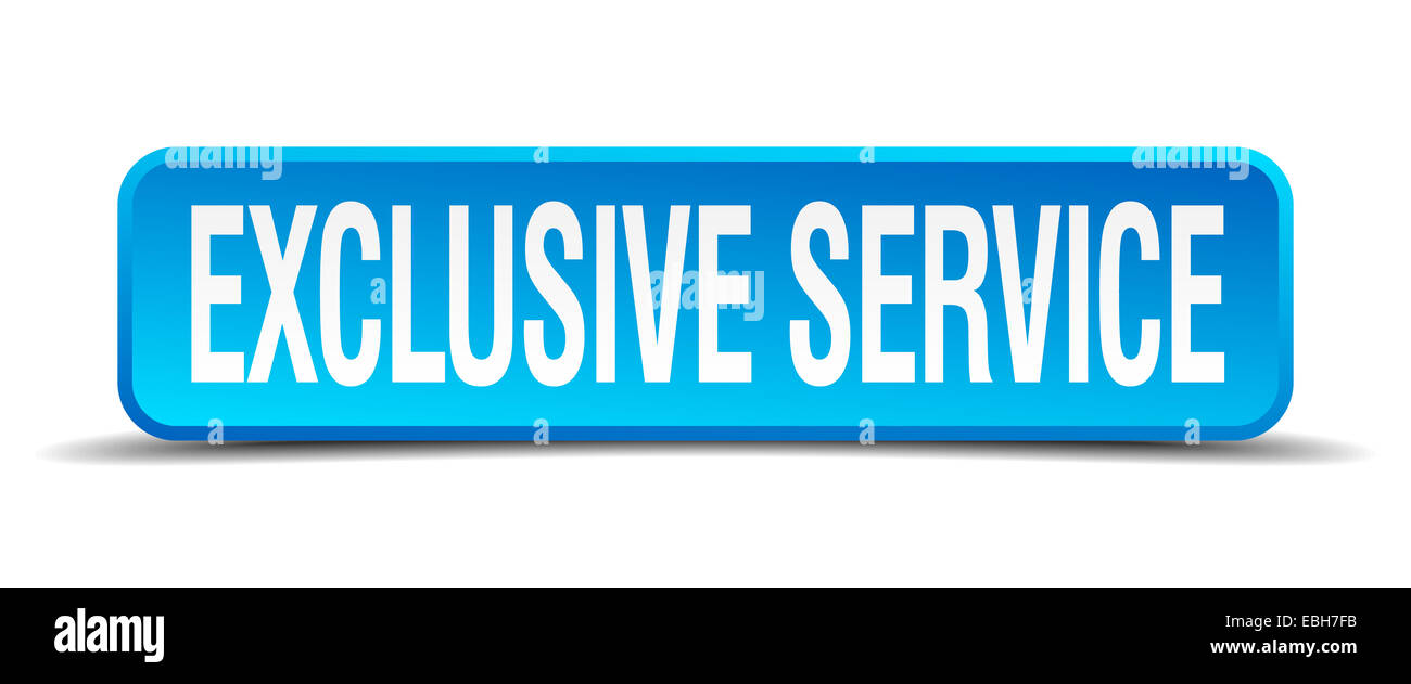 exclusive service blue 3d realistic square isolated button - Stock Image