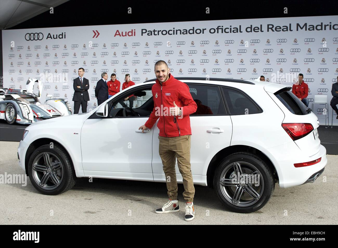 1st Dec, 2014. Karim Benzema Received The New Audi Car During The  Presentation Of Real Madridu0027s New Cars Made By Audi At Valdebebas On  December 1, ...