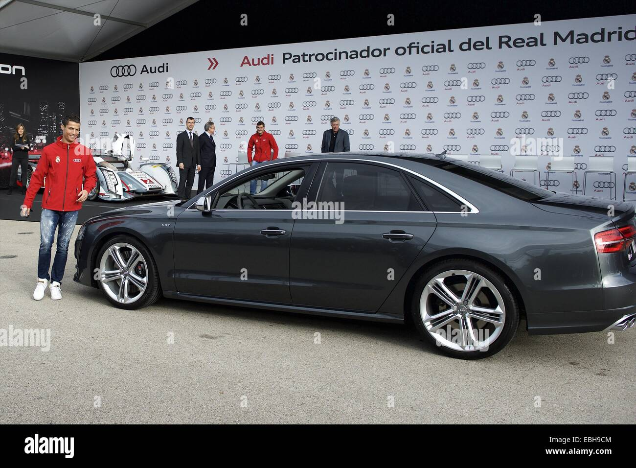 1st Dec, 2014. Cristiano Ronaldo Received The New Audi Car During The  Presentation Of Real Madridu0027s New Cars Made By Audi At Valdebebas On  December 1, ...