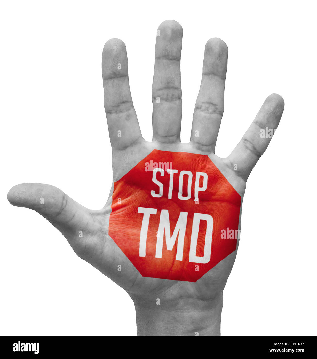 Stop TMD Sign Painted, Open Hand Raised, Isolated on White Background. - Stock Image