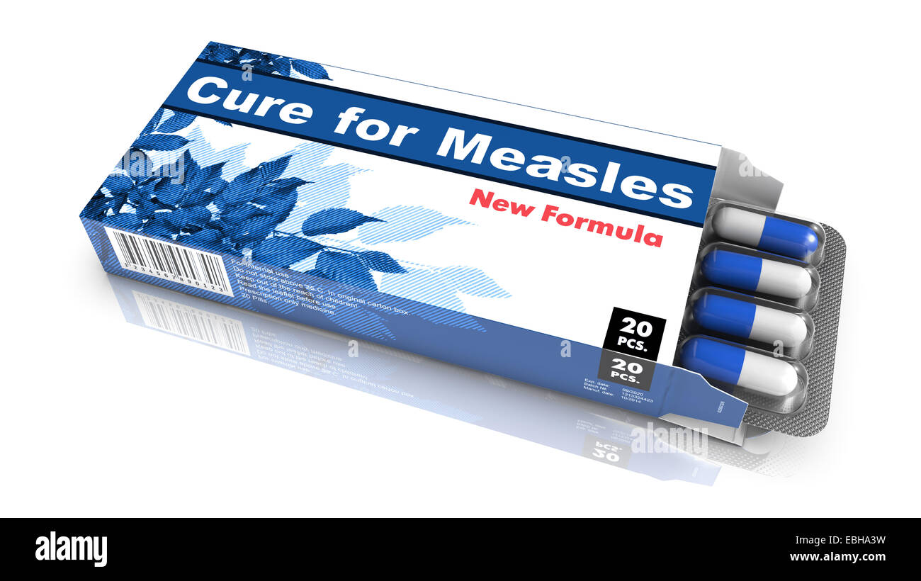 Cure for Measles, Pills Blister getting out from Blue Box over White Background. - Stock Image
