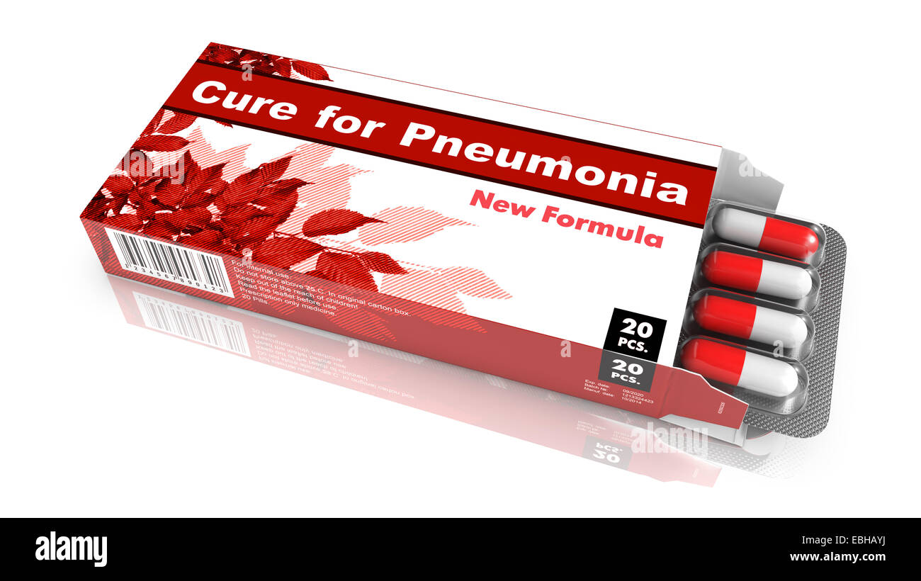 Cure for Pneumonia, Pills Blister getting out from Red Box over White Background. - Stock Image