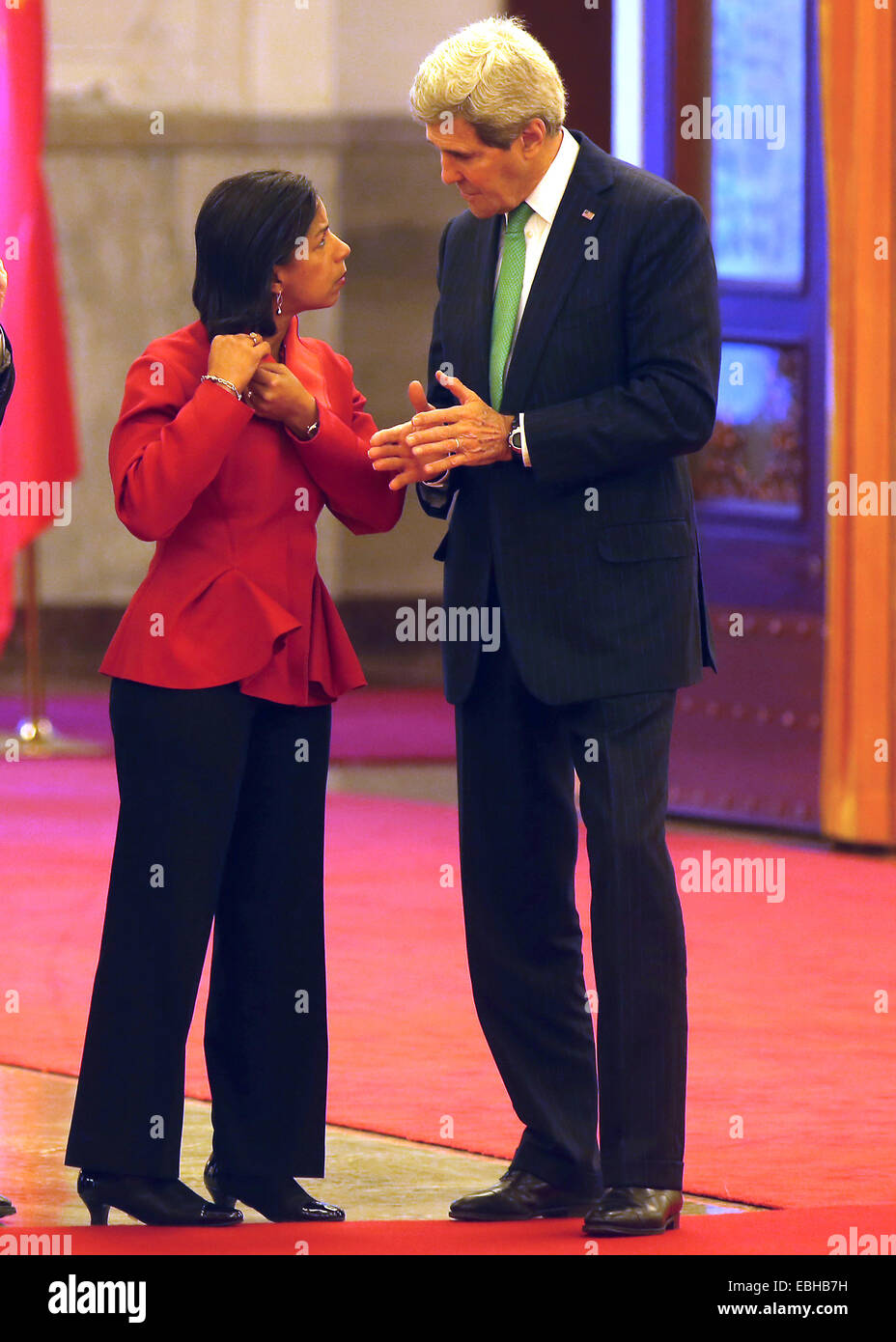 Beijing, CHINA, China. 12th Oct, 2014. U.S. Secretary of State John Kerry (R) talks with U.S. National Security - Stock Image