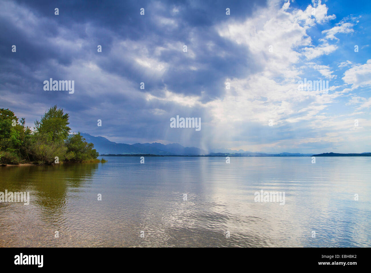 approaching thunderstorm over a lake, Germany, Bavaria, Lake Chiemsee - Stock Image