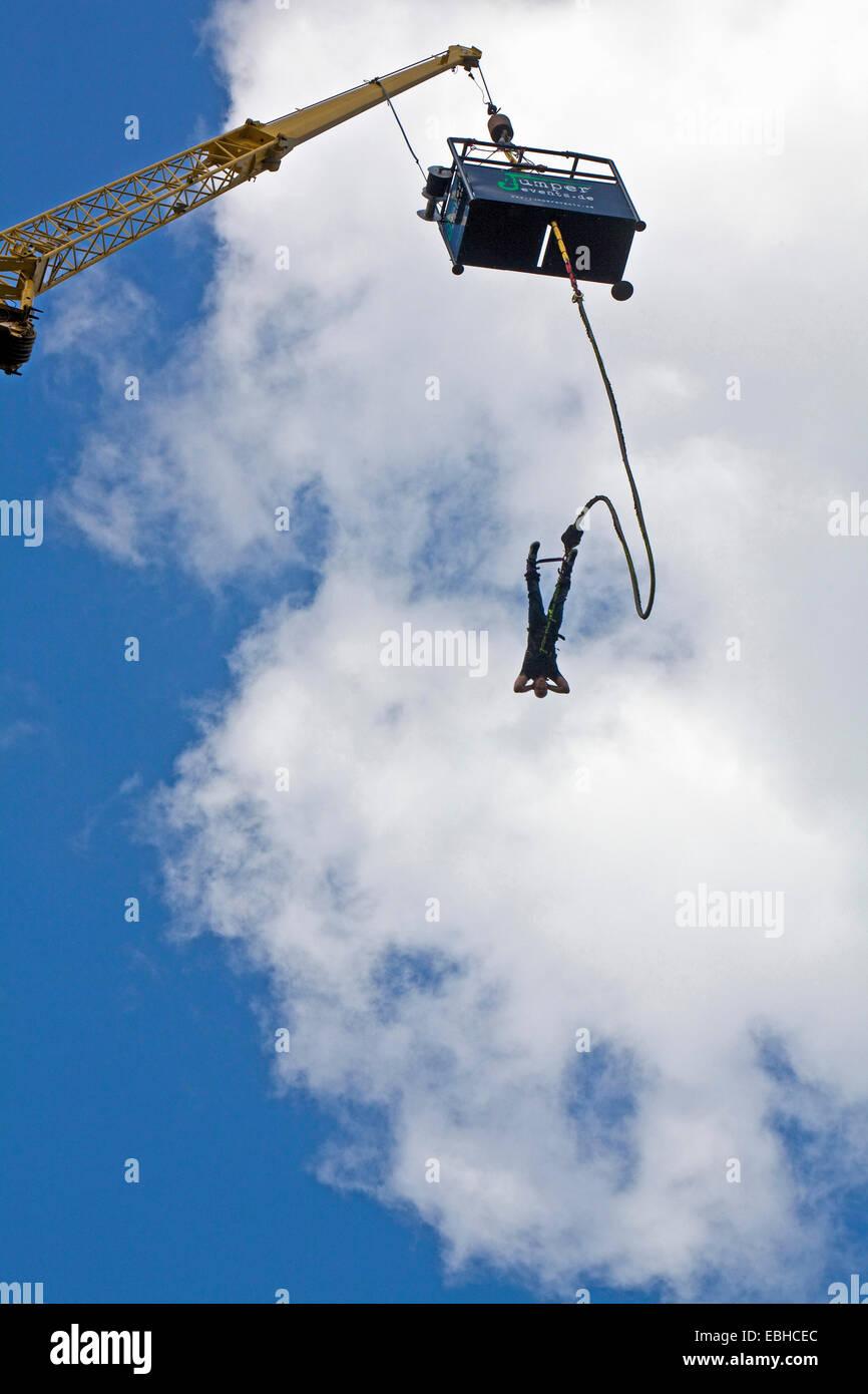 bungee jumping in Olga Park, Germany, North Rhine-Westphalia, Ruhr Area, Oberhausen Stock Photo