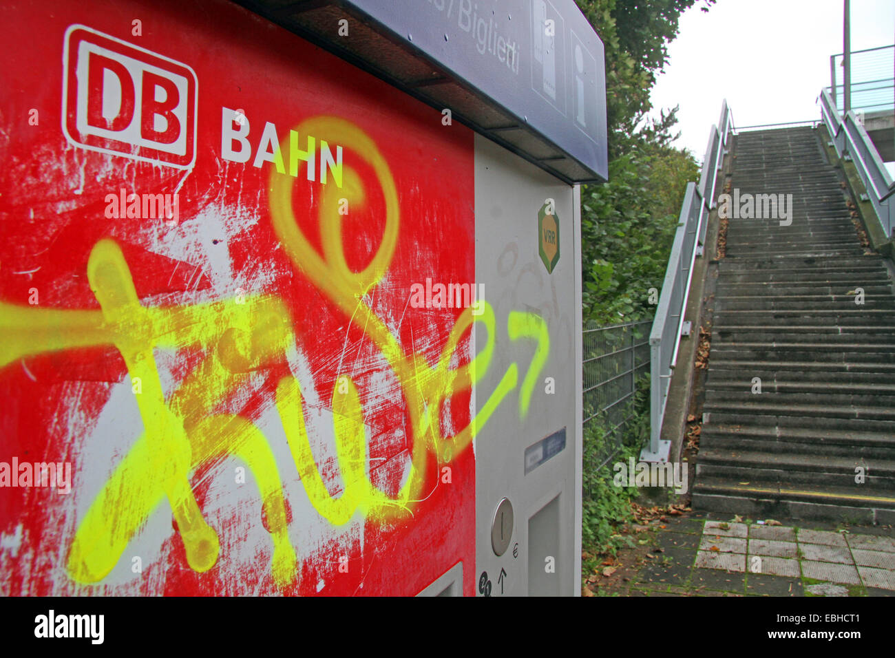 smearings at ticket machine on the train platform, Germany - Stock Image