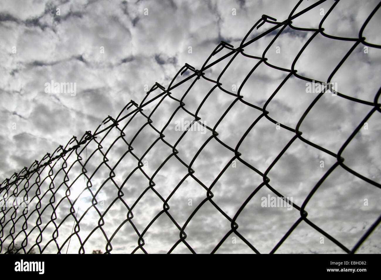 Altocumulus clouds and mesh wire fence, Germany - Stock Image