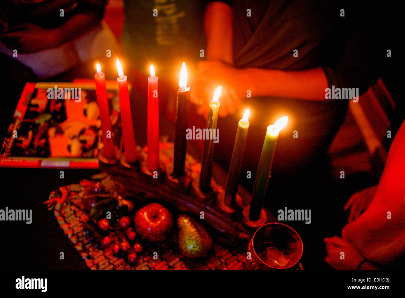 Family celebrating Kwanzaa, elevated view - Stock Image