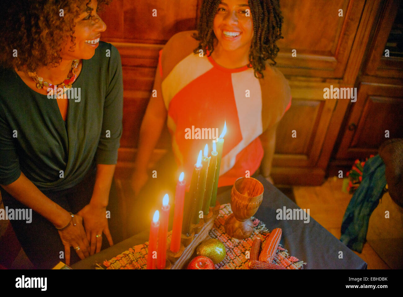 Family celebrating Kwanzaa - Stock Image