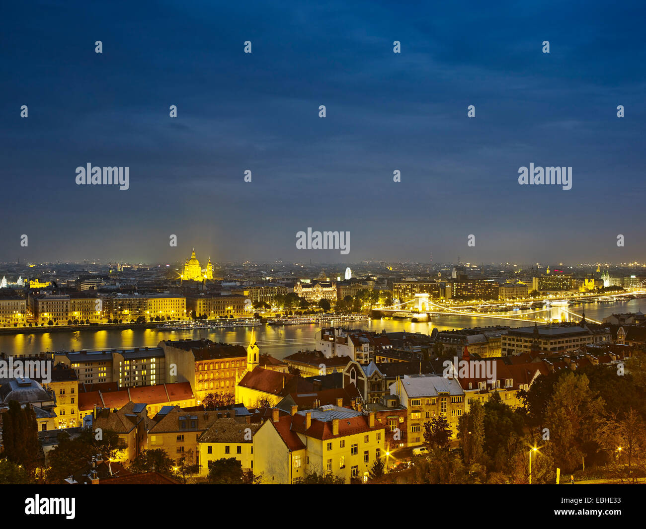 Skyline of Budapest from fisherman's bastion by night, Hungary - Stock Image
