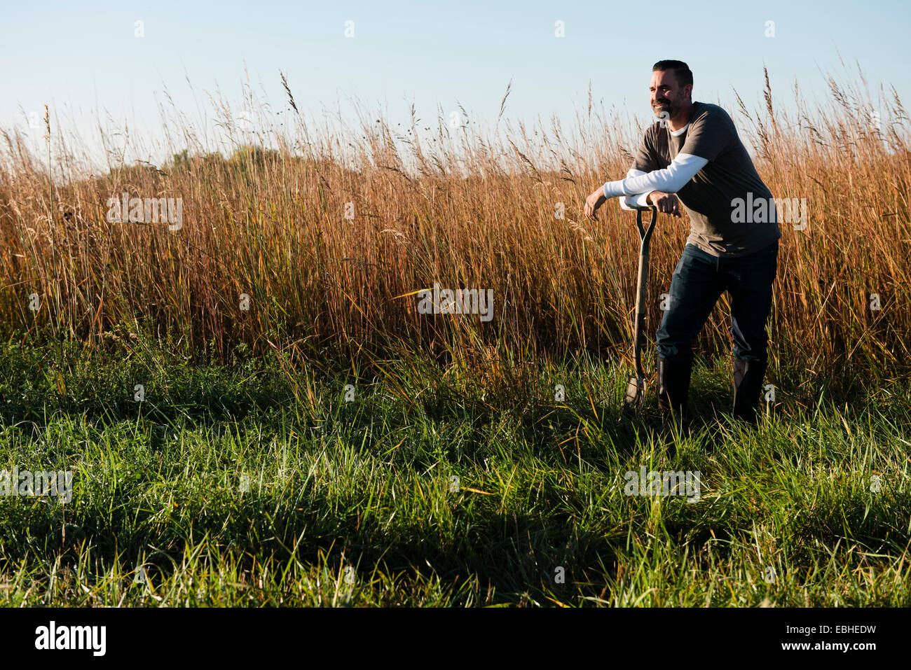 Portrait of mid adult male farmer leaning on spade in field, Plattsburg, Missouri, USA - Stock Image