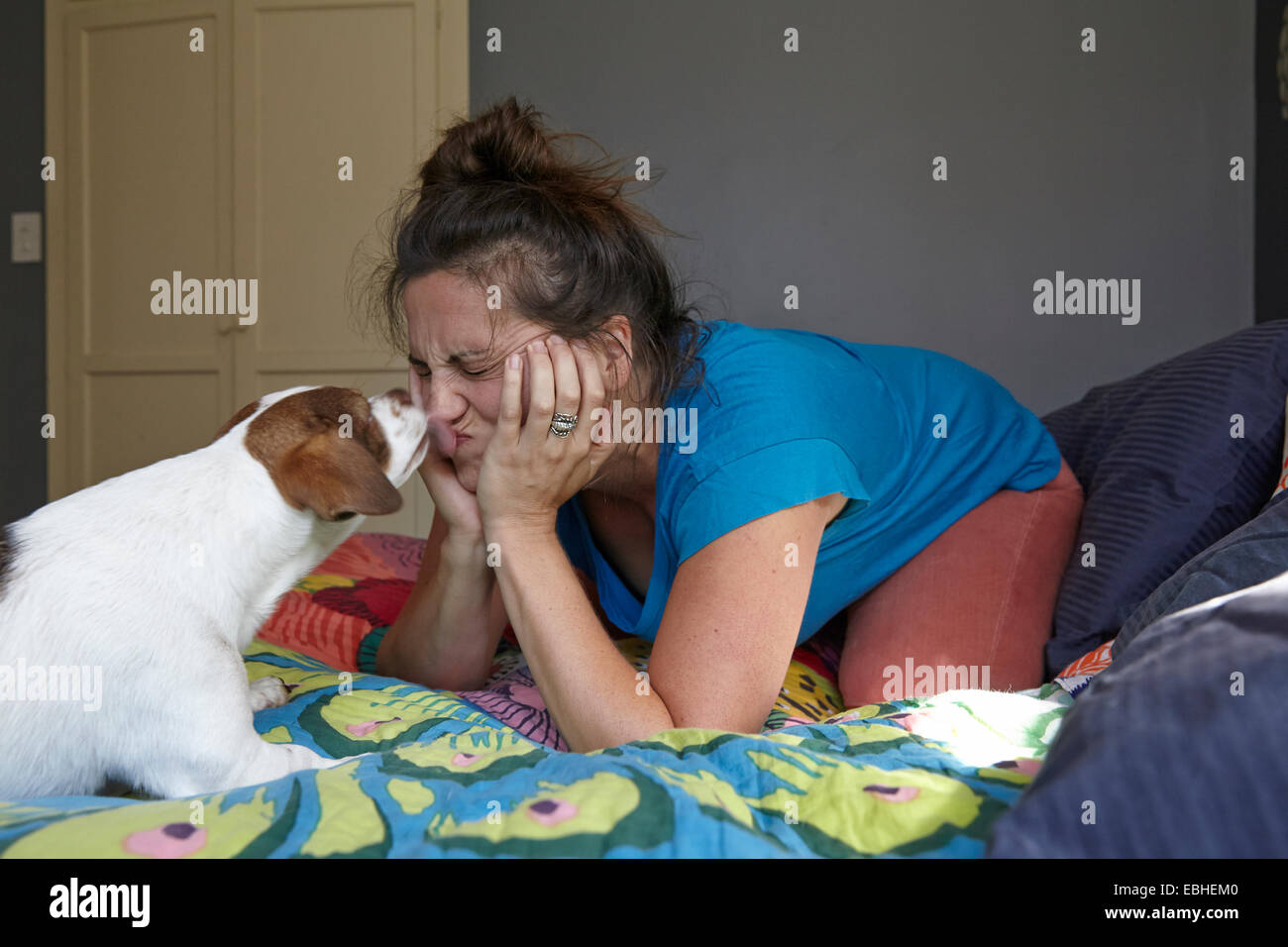 Woman pulling face whilst being licked by dog - Stock Image