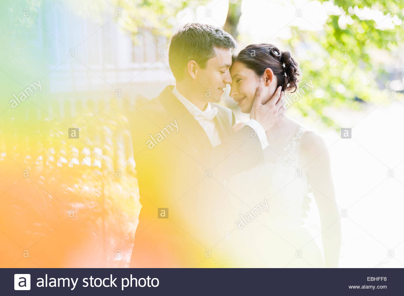 Romantic newlywed mid adult couple in park Stock Photo