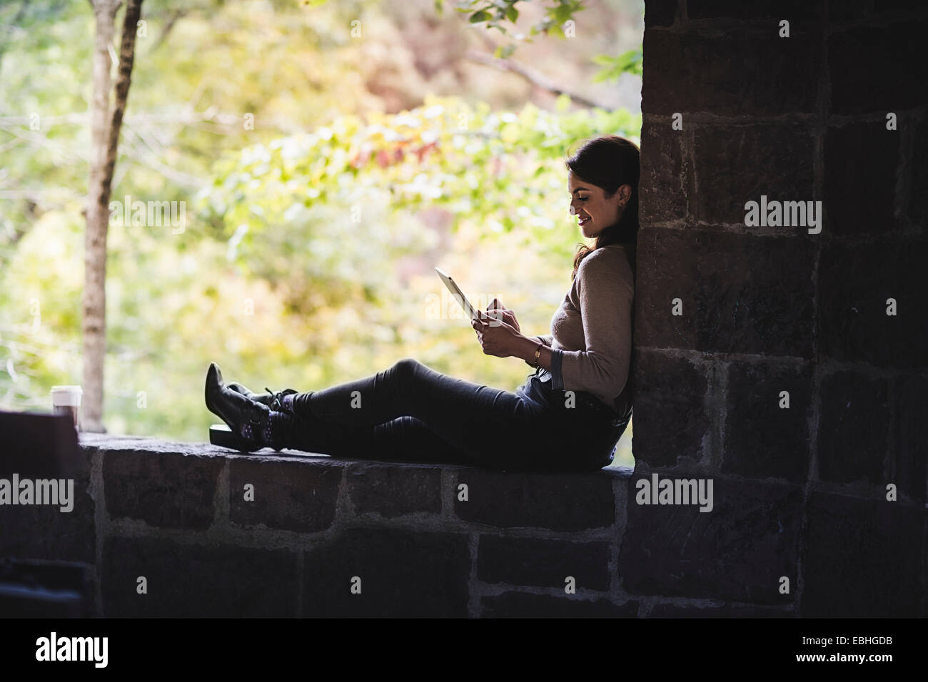 Young woman sitting on wall in forest looking at digital tablet - Stock Image