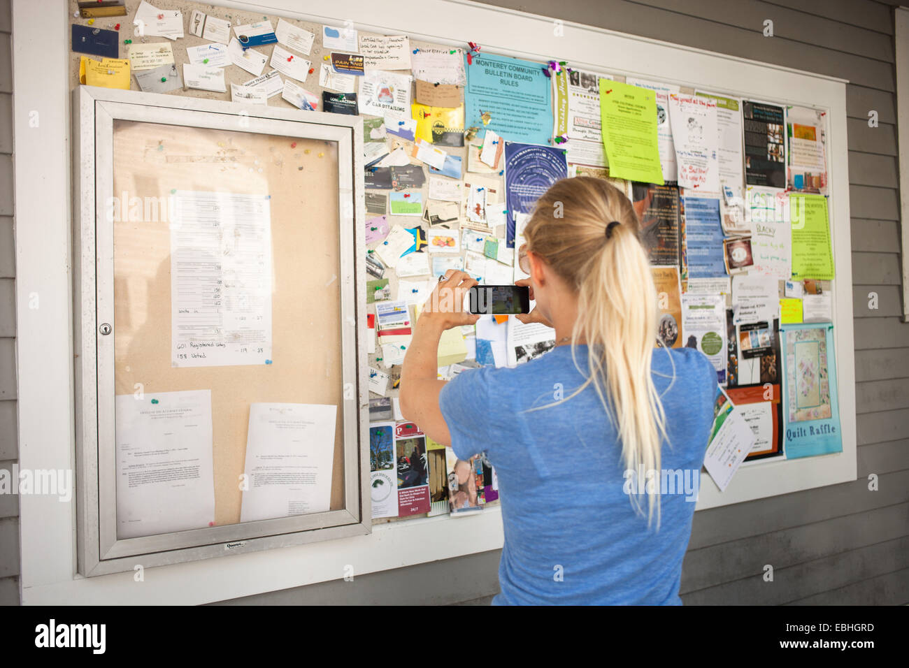 Mid adult woman photographing community notice board with smartphone - Stock Image