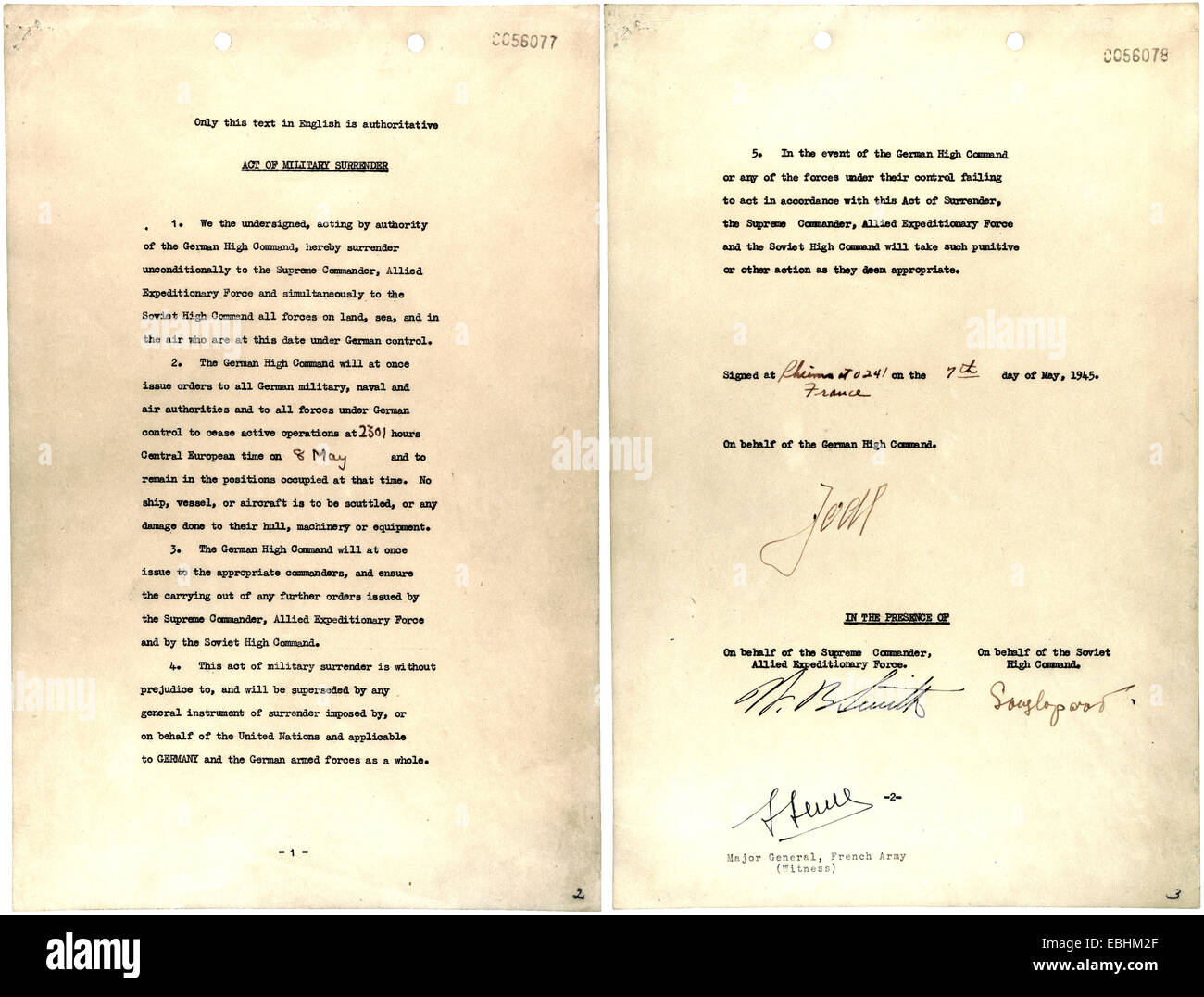 GERMAN SURRENDER DOCUMENT signed by Jodl at SHAEF HQ in Reims 7 May 1945 - Stock Image