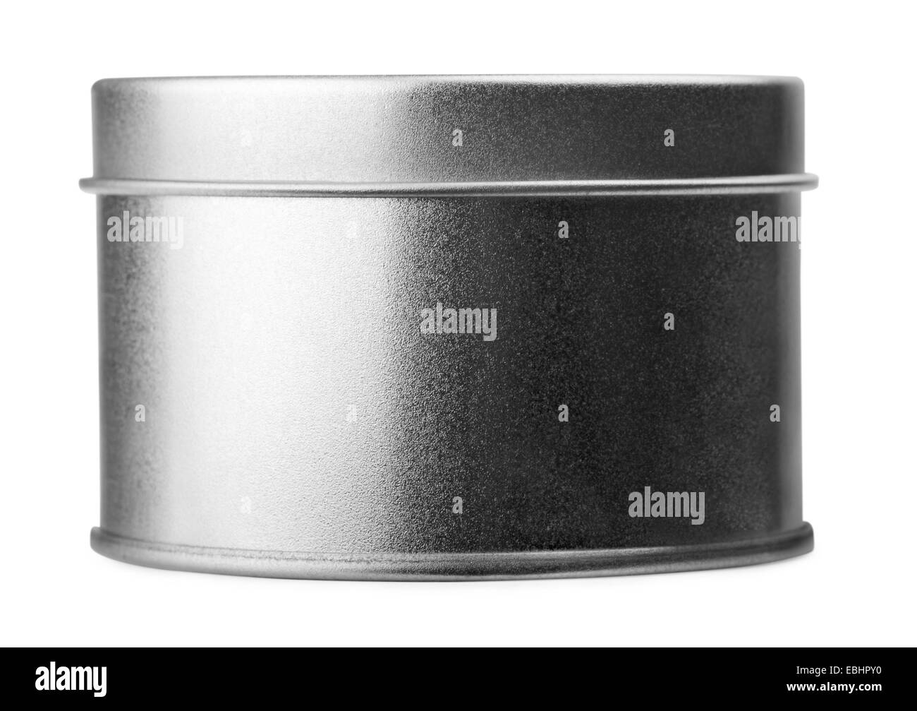 Round metal container on a white background - Stock Image
