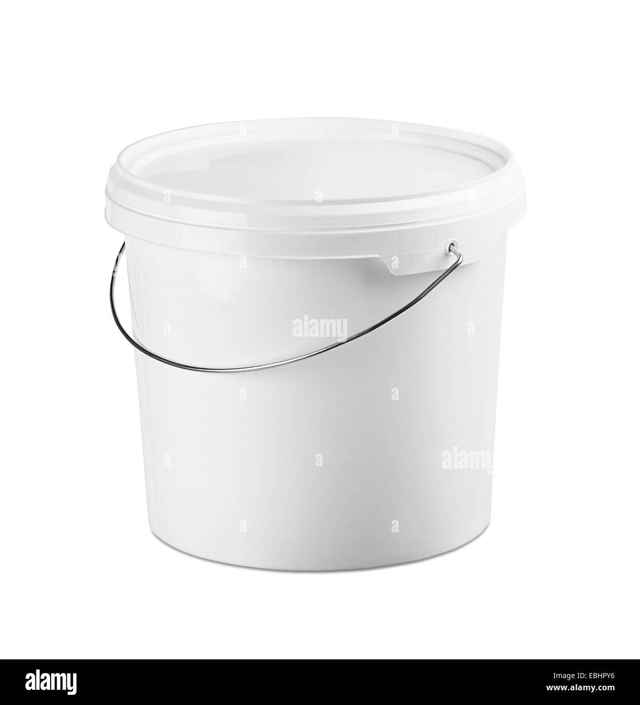 White plastic bucket on a white background - Stock Image
