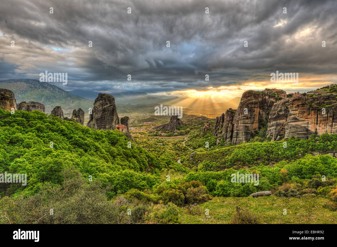 Monasteries on the top of Giant rocks seem miraculous and make Meteora one of the most spectacular places in Greece. - Stock Image
