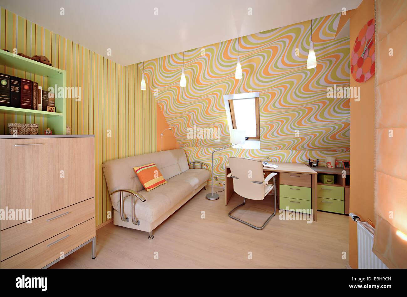 Interior in the modern house desk book contemporary domestic