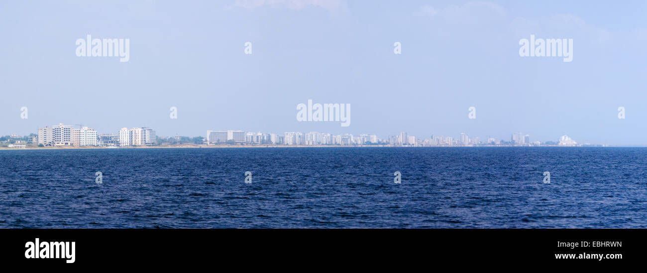 Panoramic photo of the ghost town Famagusta, Cyprus. Since the Turkish invasion of northern Cyprus in 1974, the - Stock Image
