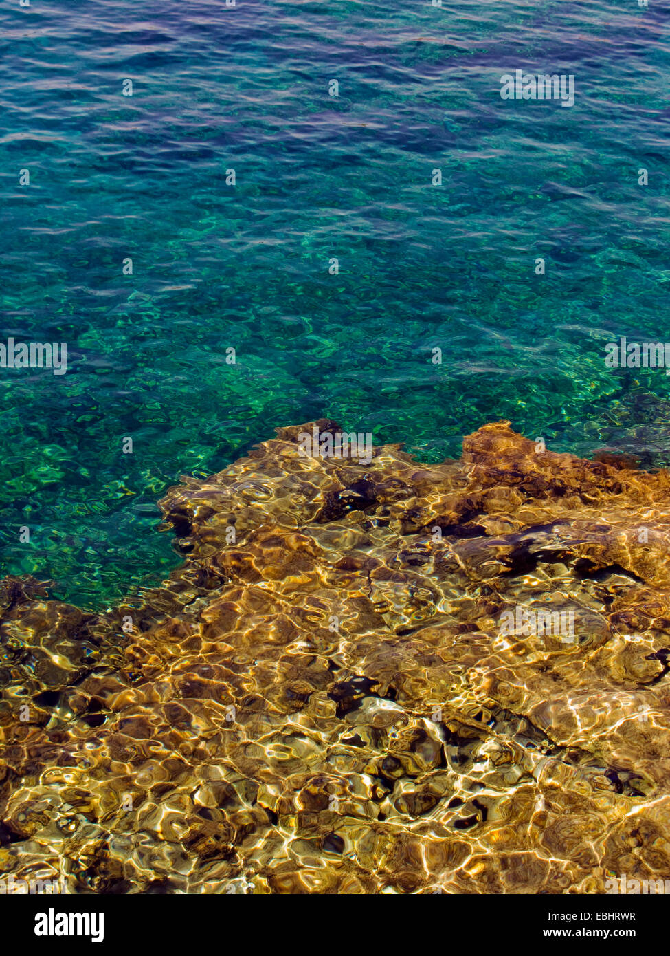 Rocks under water at Protaras, Cyprus, Europe. Stock Photo