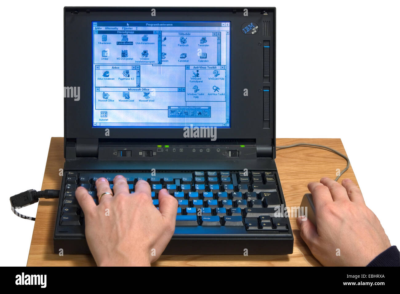 An IBM notebook from the early 1990s running Windows 3.1. - Stock Image