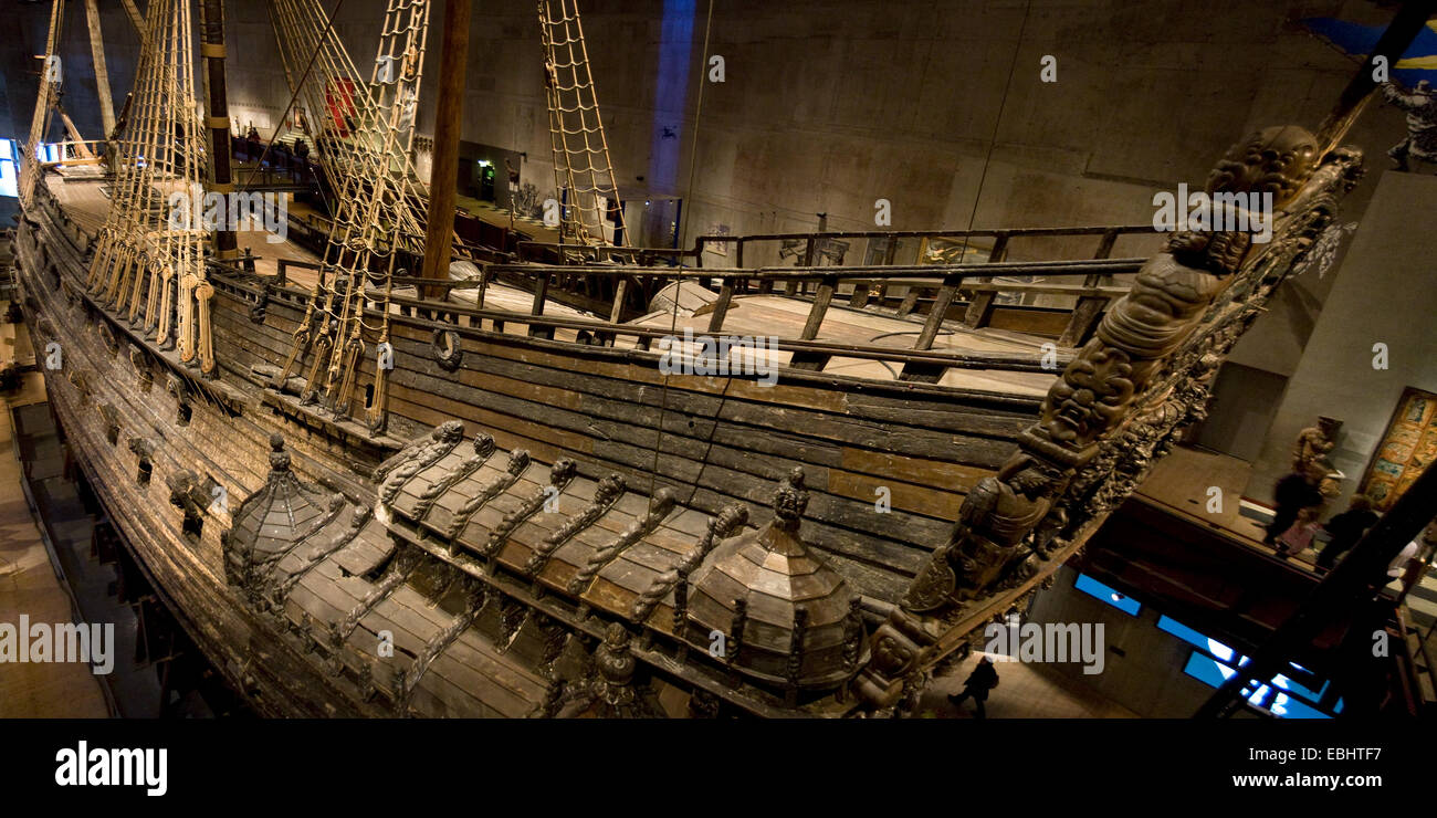 The Royal Swedish warship Vasa in its museum. It sank in 1628 and was found again in 1956. - Stock Image