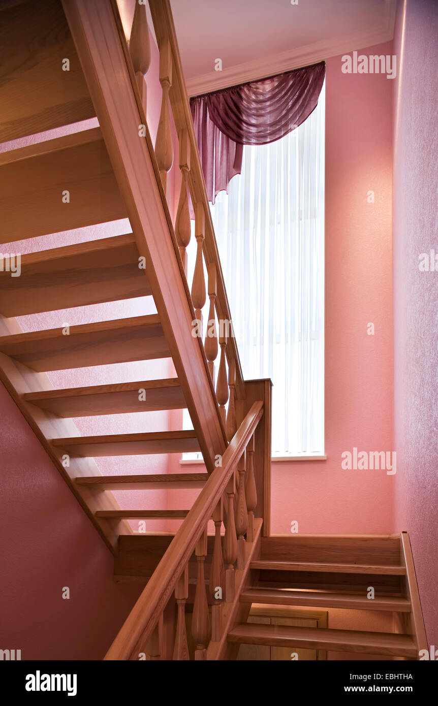 Wooden Staircase, ladder in the modern luxury house. Vestibule, corridor indoors staircase ladder house residential Stock Photo