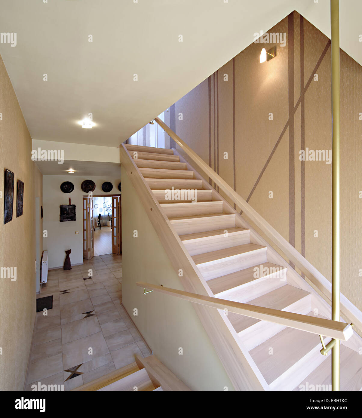 Wooden staircase ladder in the modern luxury house for Decor ladder house