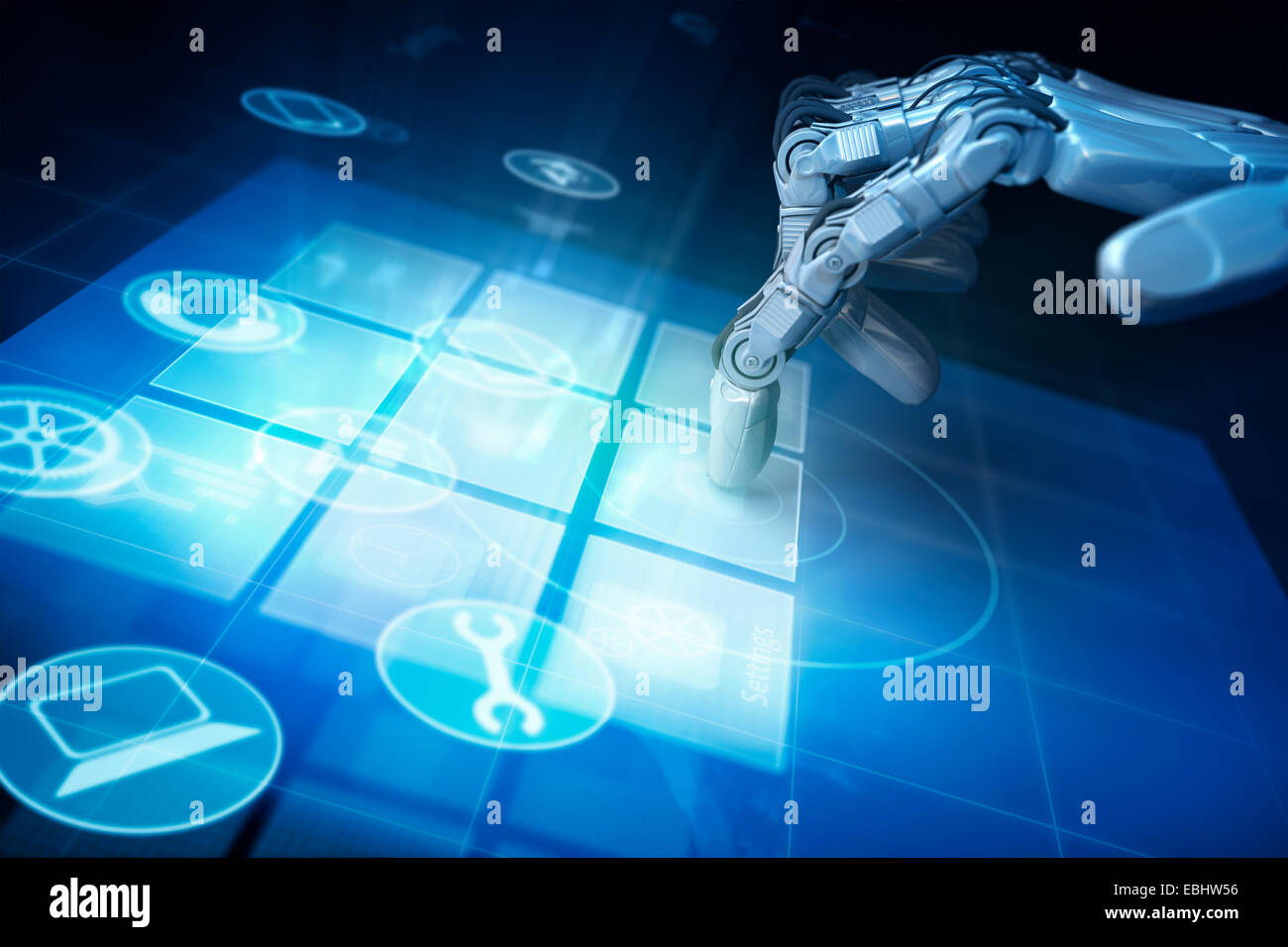 Hand of robot and touchscreen. - Stock Image