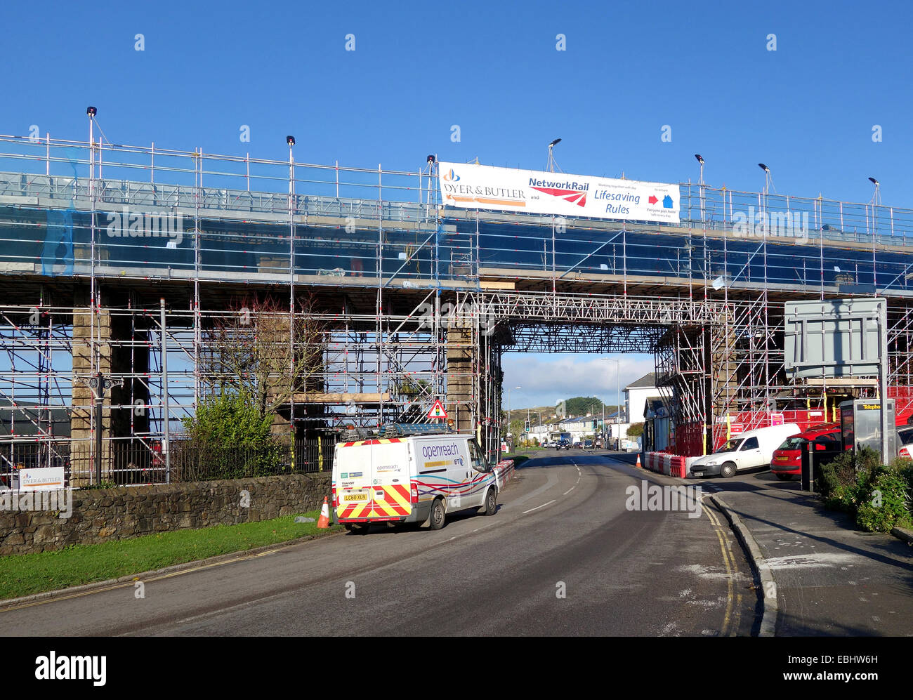 Railway viaduct at Hayle in Cornwall, UK, undergoing structural repairs - Stock Image