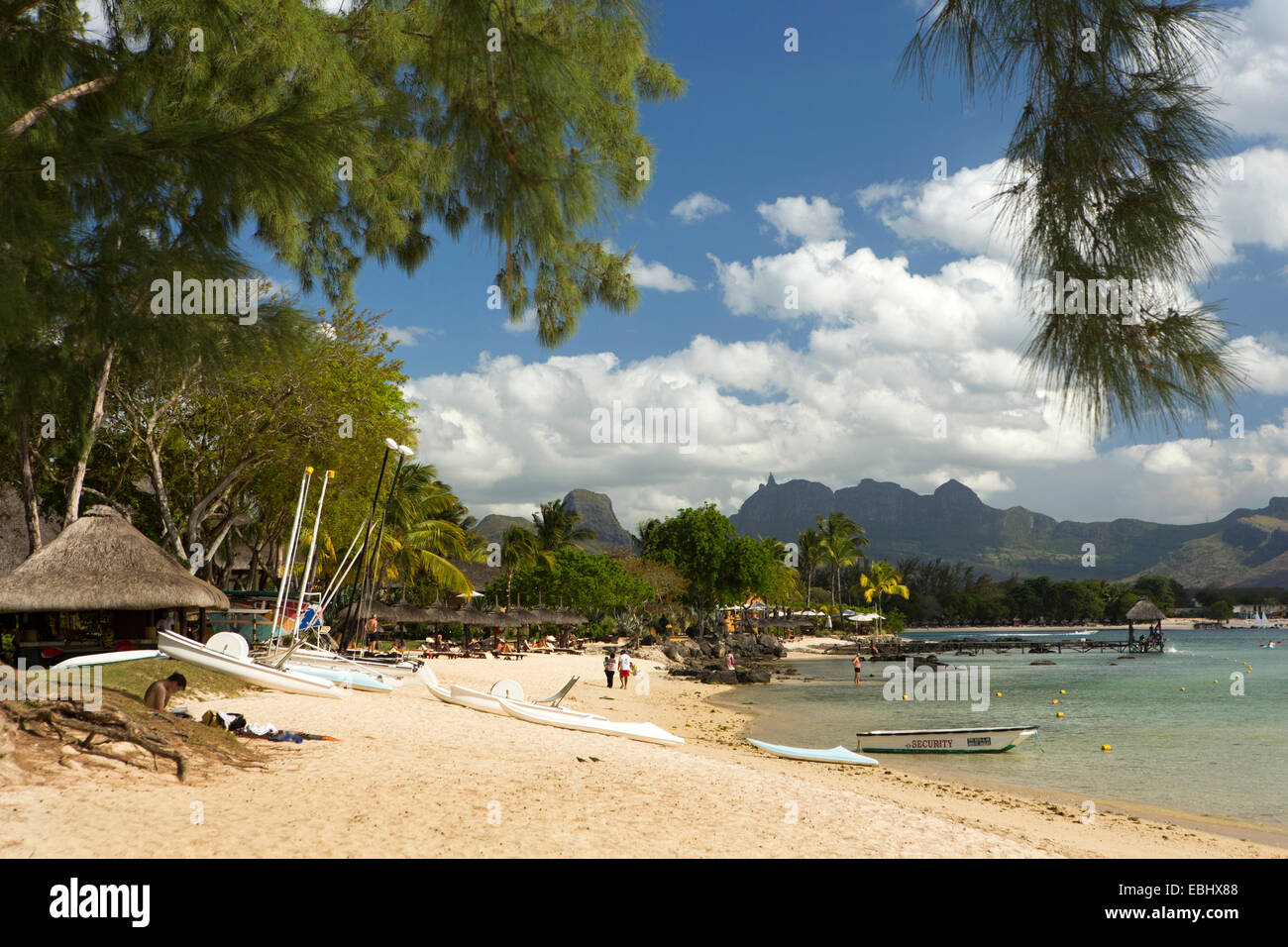 Mauritius, Pointe aux Piments, Turtle Bay, public beach - Stock Image