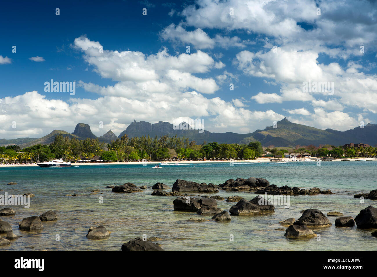 Mauritius, Pointe aux Piments, Mount Pieter Both and coastal mountains from Turtle Bay - Stock Image