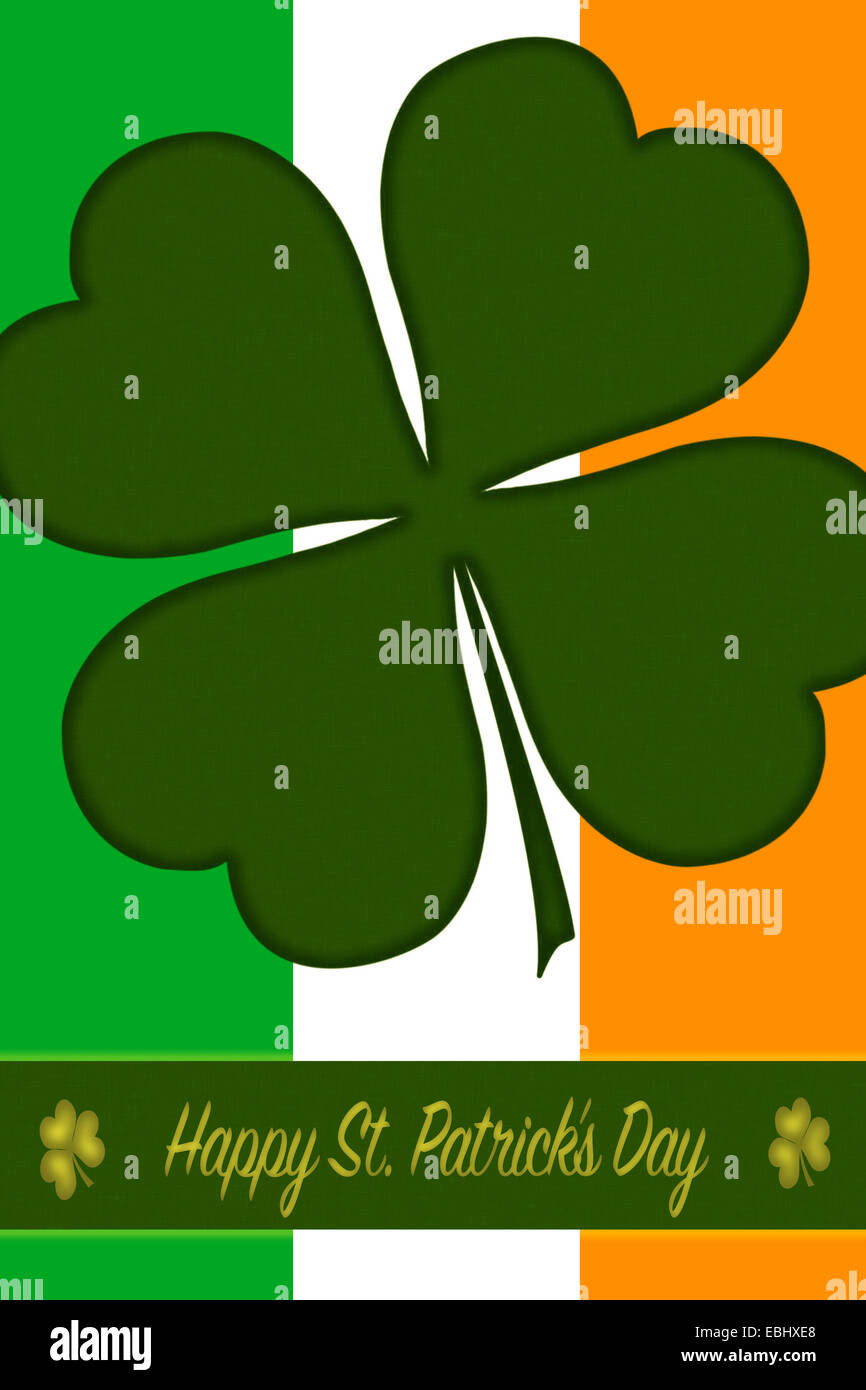 St Patricks Day Greeting Card With Backdrop A Border Clover And