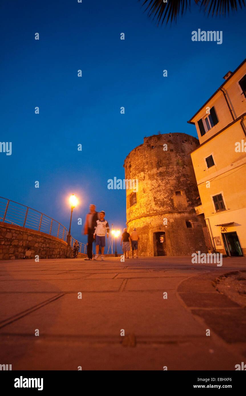 Italy, Liguria, Laigueglia, Bastion from the 16th Century - Stock Image