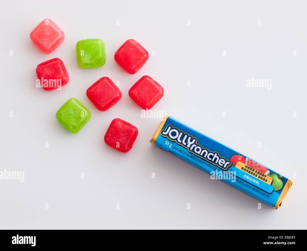 Jolly Rancher hard candy.  Original fruit flavours shown.  Manufactured by The Hershey Company. - Stock Image