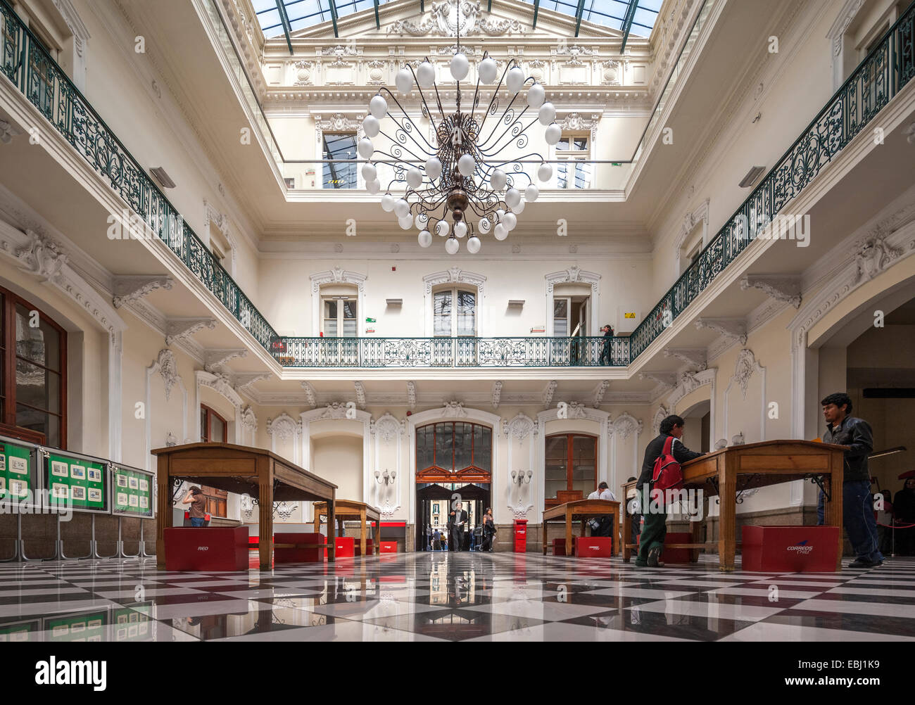 Santiago Chile Central Post Office and Postal Museum Building, Correo Central Museo Postal on Plaza de Armas. Interior. - Stock Image