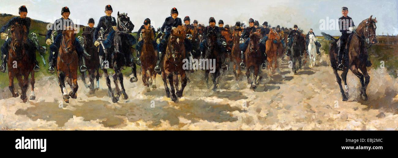 George Hendrik Breitner, Cavalry 1883-1888 Oil on canvas. Gemeentemuseum Den Haag, The Hague, Netherlands. - Stock Image