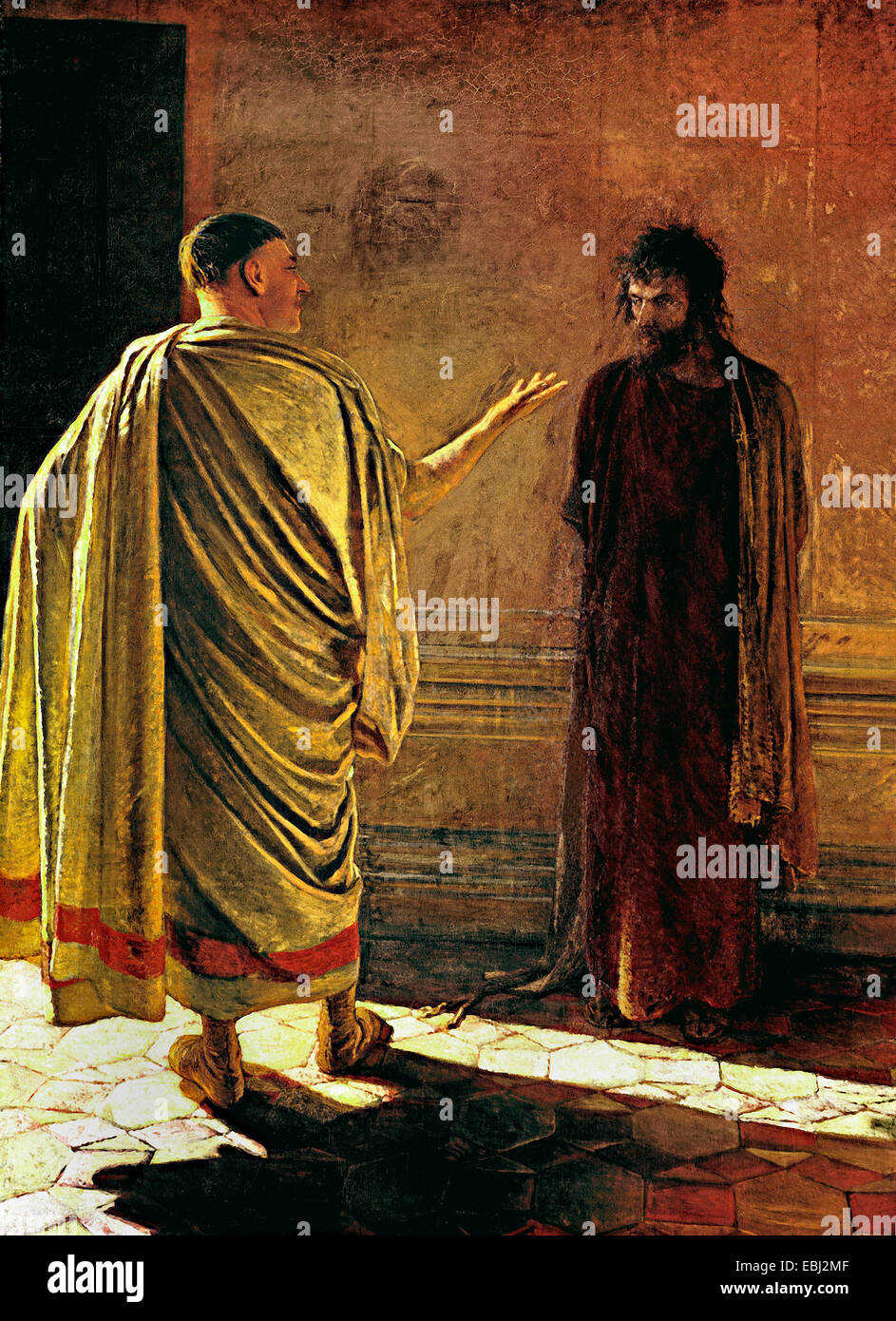 Nikolai Ge, 'What is truth?' Christ and Pilate 1890 Oil on canvas. Tretyakov Gallery, Moscow, Russia. - Stock Image