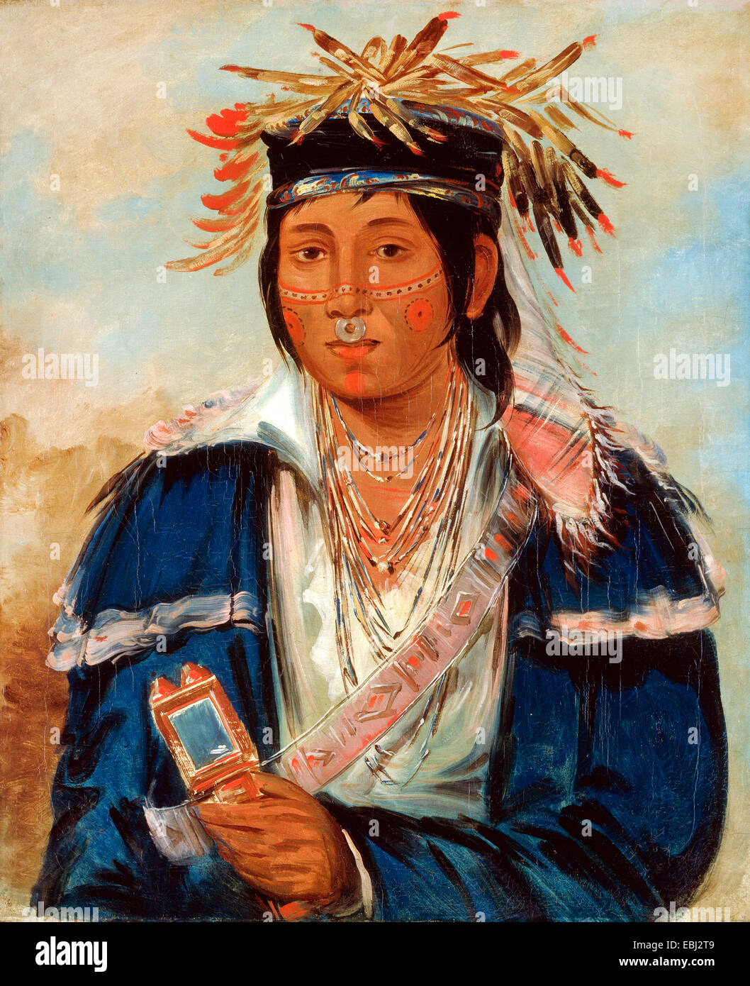 George Catlin, Kee-mo-ra-nia, No English, a Dandy 1830 Oil on canvas. Smithsonian American Art Museum, Washington, - Stock Image