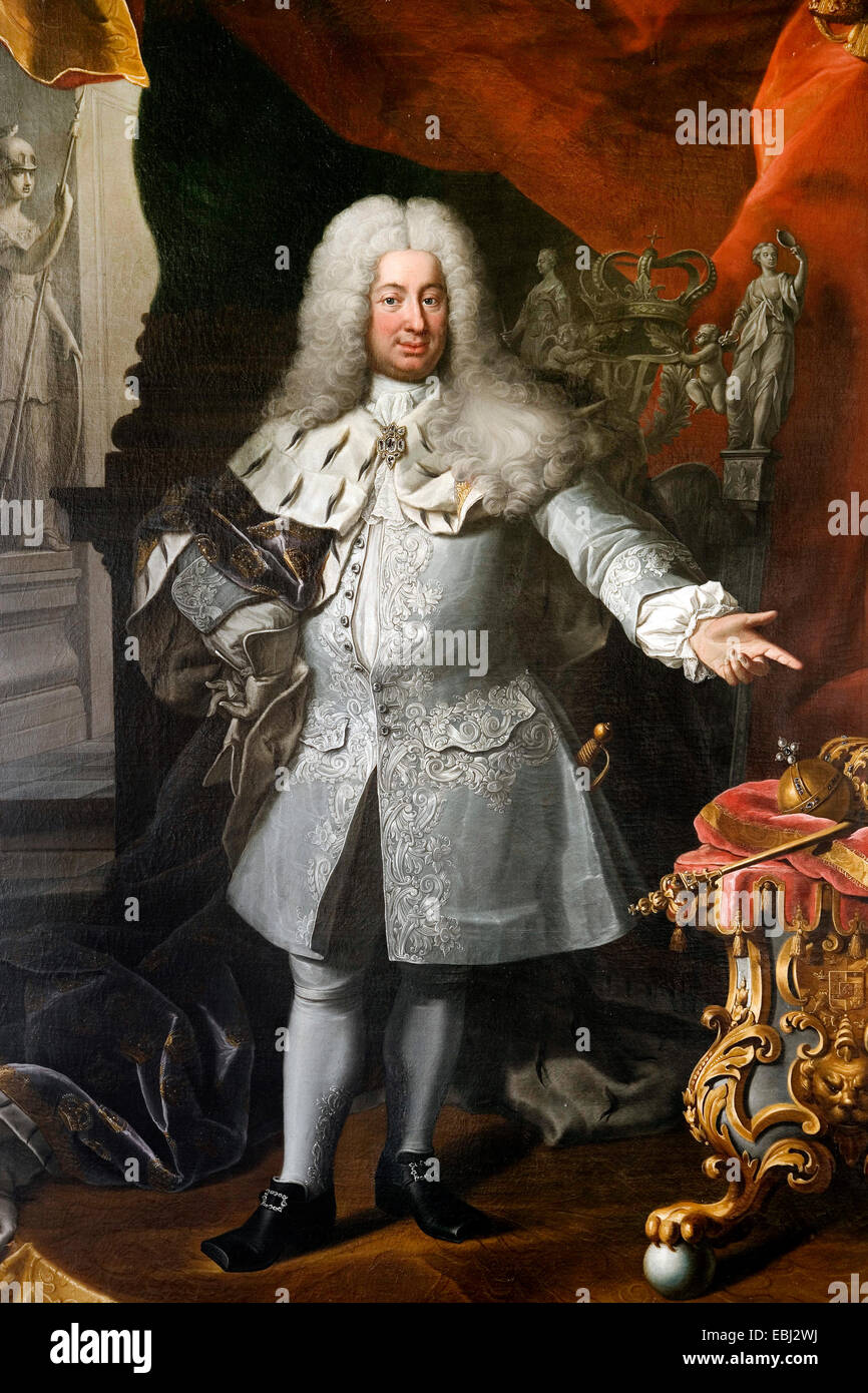 Georg Engelhardt Schroder - Fredrik I, King of Sweden 1720-1751. 1894 Oil on canvas. The Royal Armoury, Stockholm, - Stock Image