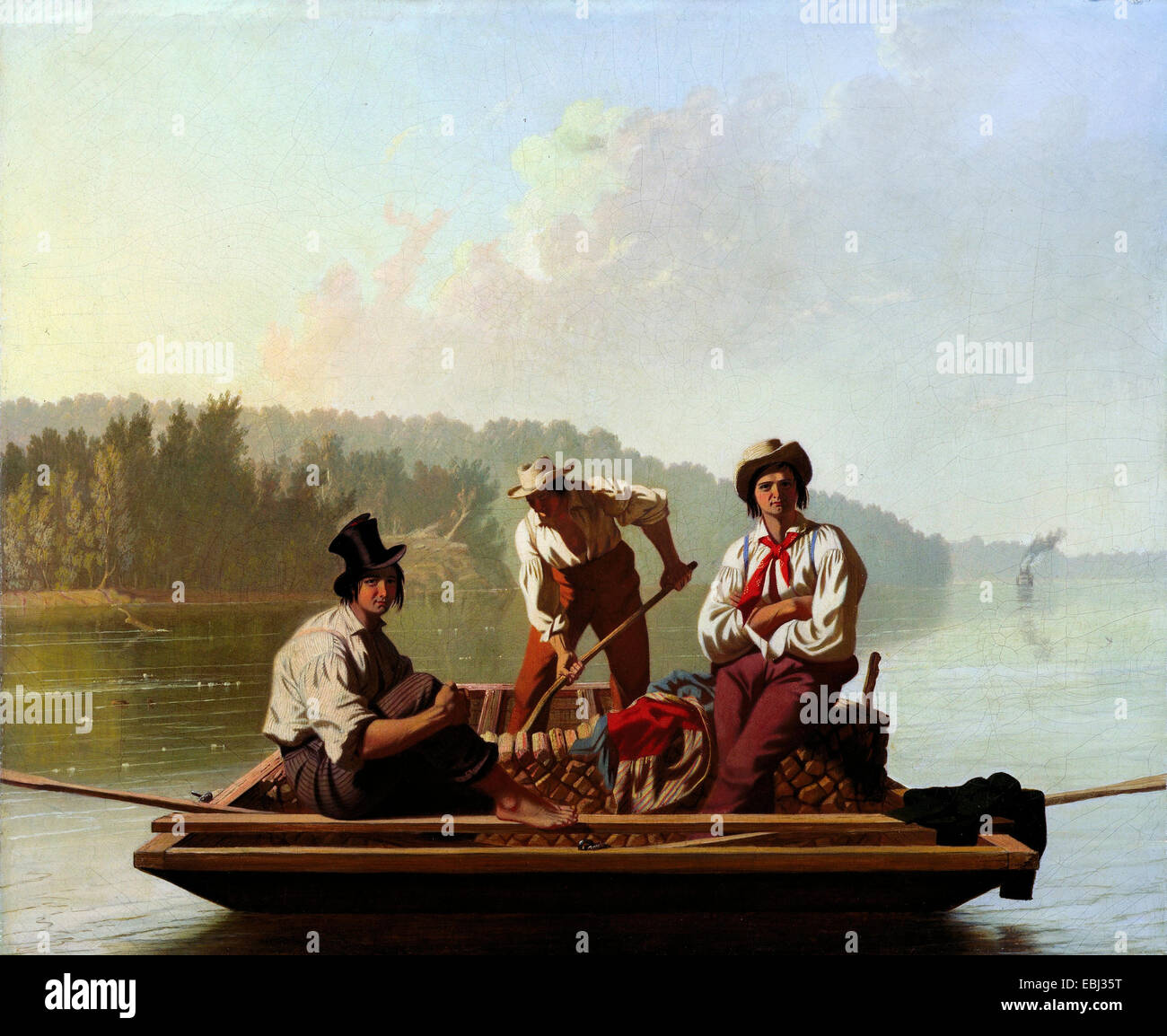 George Caleb Bingham, Boatmen on the Missouri 1846 Oil on canvas. Fine Arts Museums of San Francisco, USA. - Stock Image