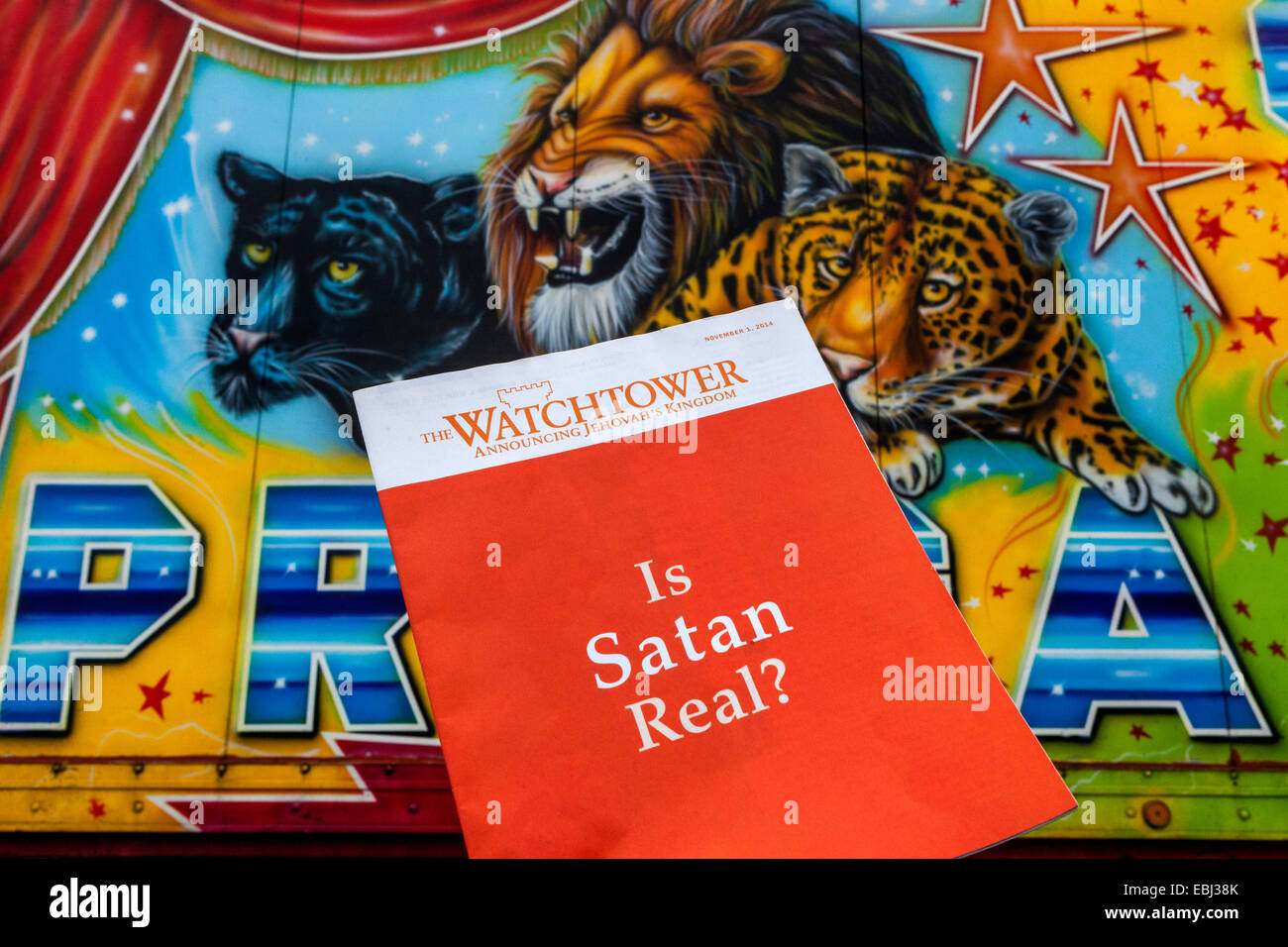 Is Satan real ? watchtower  Jehovah's Witness Czech - Stock Image