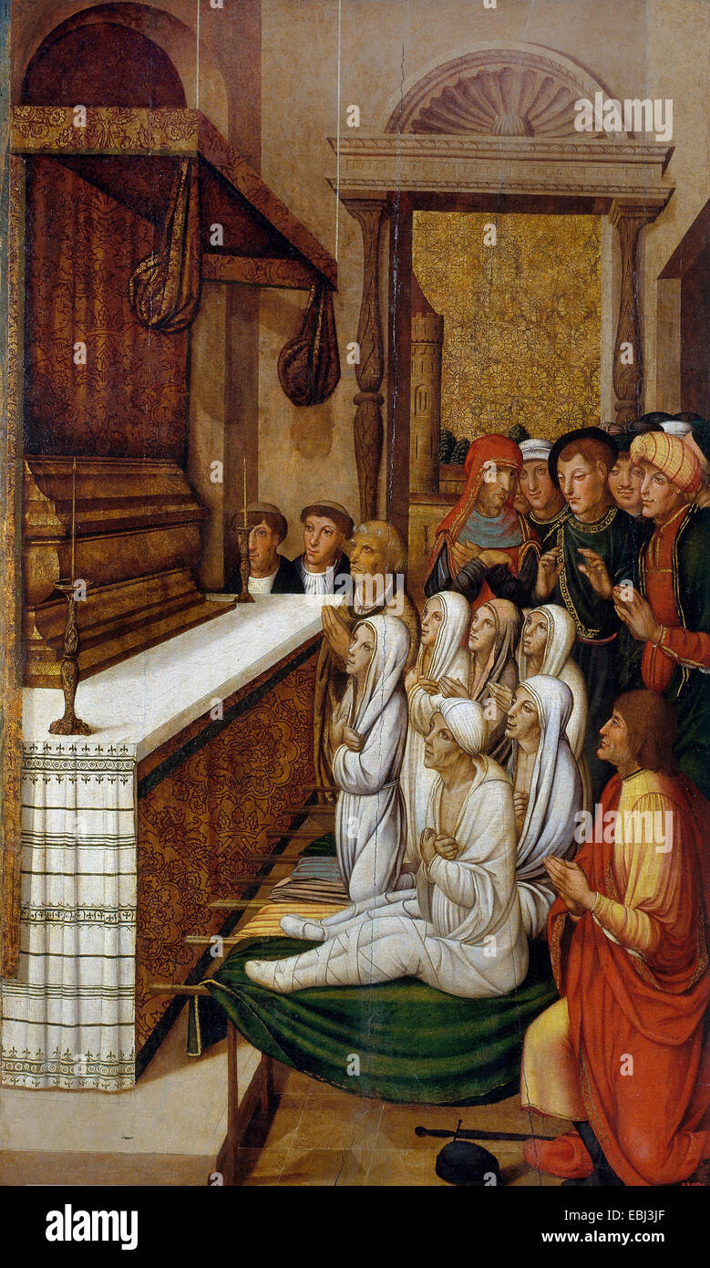 Pere Gasco, Six Resurrections Before the Relics of Saint Stephen. Circa 1529-1546. Tempera and oil on wood. - Stock Image